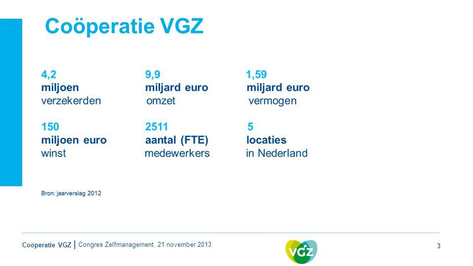 Coöperatie VGZ | Coöperatie VGZ 3 Congres Zelfmanagement, 21 november 2013
