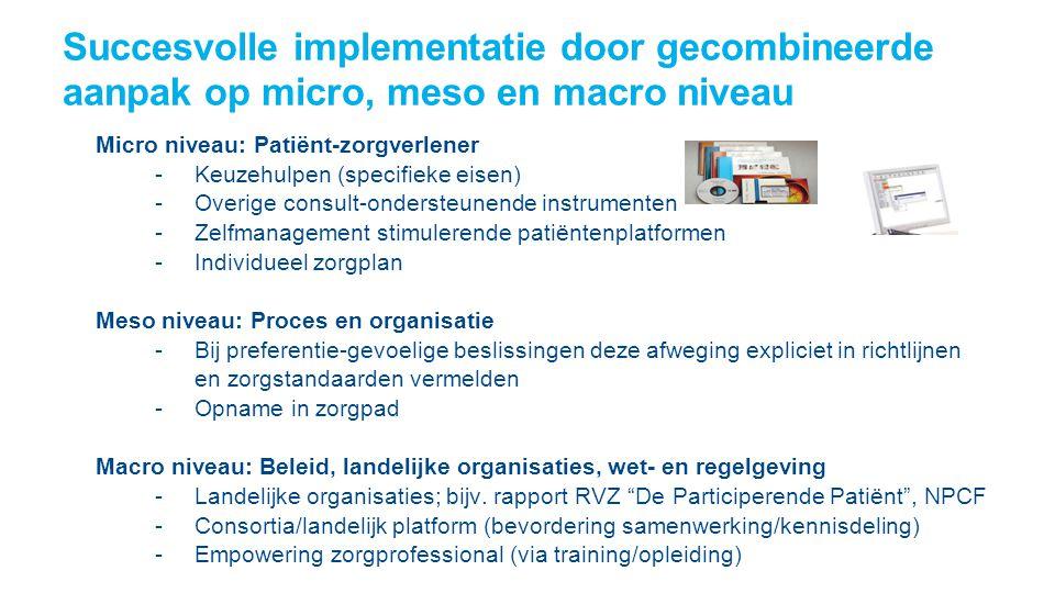 Succesvolle implementatie door gecombineerde aanpak op micro, meso en macro niveau STIMULEREN IMPLEMENTATIE Patiënt – zorgverlener - gebruik instrumen