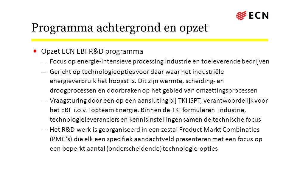 Programma achtergrond en opzet • Opzet ECN EBI R&D programma — Focus op energie-intensieve processing industrie en toeleverende bedrijven — Gericht op