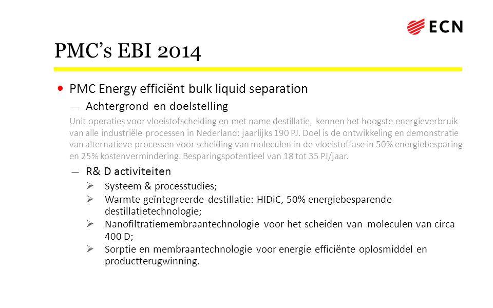 PMC's EBI 2014 • PMC Energy efficiënt bulk liquid separation — Achtergrond en doelstelling Unit operaties voor vloeistofscheiding en met name destilla