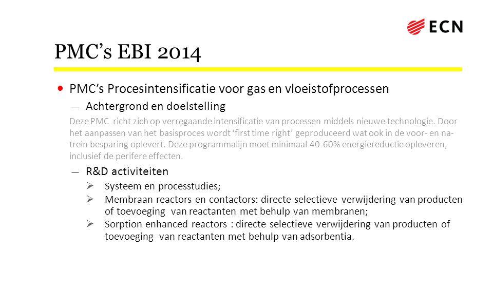 PMC's EBI 2014 • PMC's Procesintensificatie voor gas en vloeistofprocessen — Achtergrond en doelstelling Deze PMC richt zich op verregaande intensific