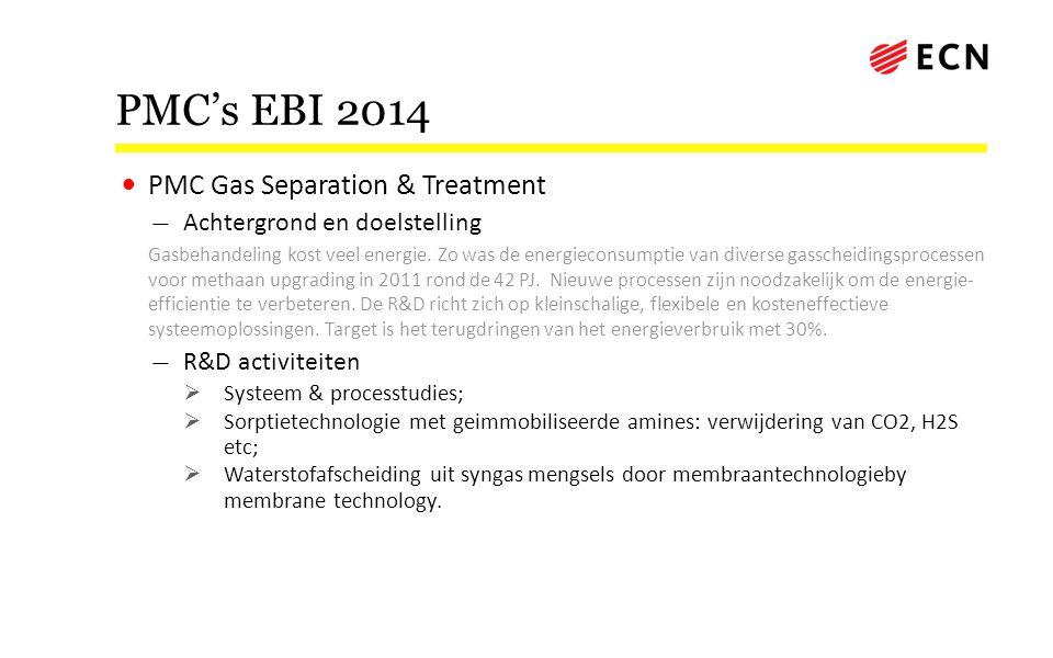 PMC's EBI 2014 • PMC Gas Separation & Treatment — Achtergrond en doelstelling Gasbehandeling kost veel energie. Zo was de energieconsumptie van divers