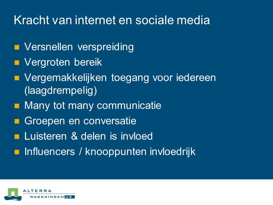 Kracht van internet en sociale media  Versnellen verspreiding  Vergroten bereik  Vergemakkelijken toegang voor iedereen (laagdrempelig)  Many tot many communicatie  Groepen en conversatie  Luisteren & delen is invloed  Influencers / knooppunten invloedrijk
