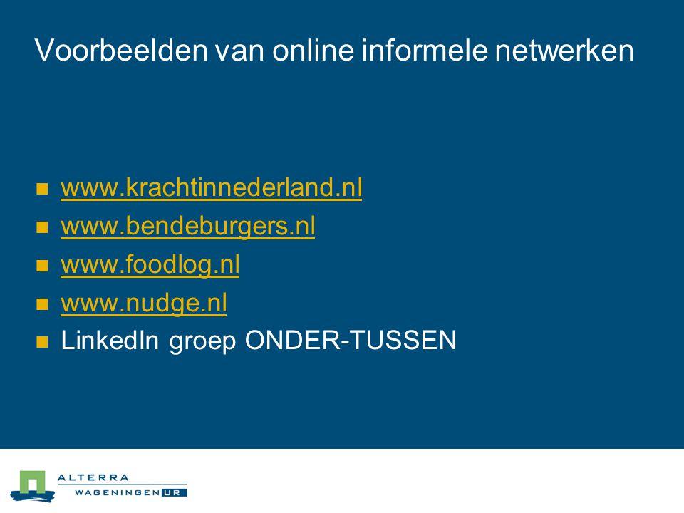 Voorbeelden van online informele netwerken  www.krachtinnederland.nl www.krachtinnederland.nl  www.bendeburgers.nl www.bendeburgers.nl  www.foodlog.nl www.foodlog.nl  www.nudge.nl www.nudge.nl  LinkedIn groep ONDER-TUSSEN