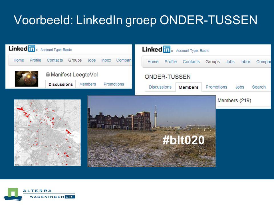 Voorbeeld: LinkedIn groep ONDER-TUSSEN #blt020
