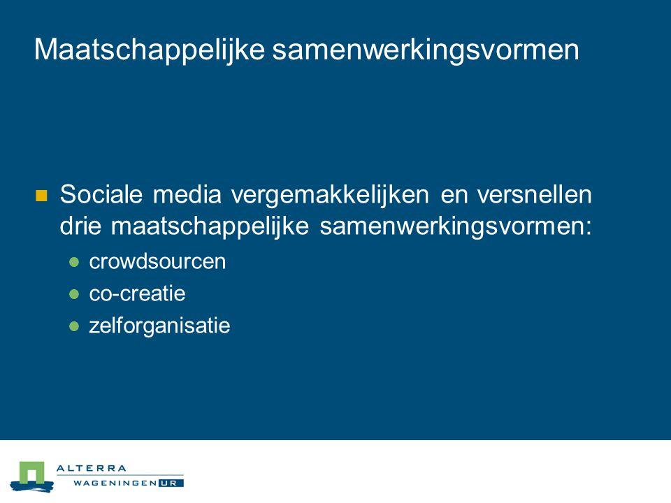 Maatschappelijke samenwerkingsvormen  Sociale media vergemakkelijken en versnellen drie maatschappelijke samenwerkingsvormen:  crowdsourcen  co-creatie  zelforganisatie