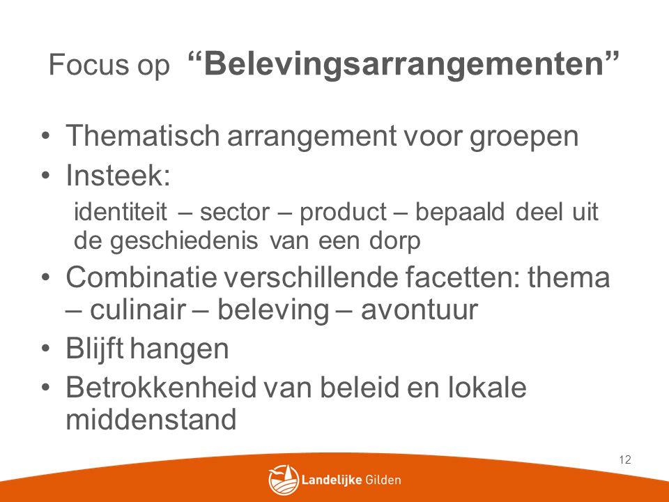 """Focus op """"Belevingsarrangementen"""" •Thematisch arrangement voor groepen •Insteek: identiteit – sector – product – bepaald deel uit de geschiedenis van"""