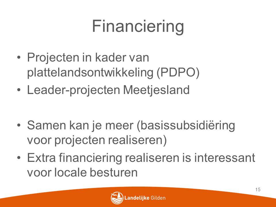 Financiering •Projecten in kader van plattelandsontwikkeling (PDPO) •Leader-projecten Meetjesland •Samen kan je meer (basissubsidiëring voor projecten