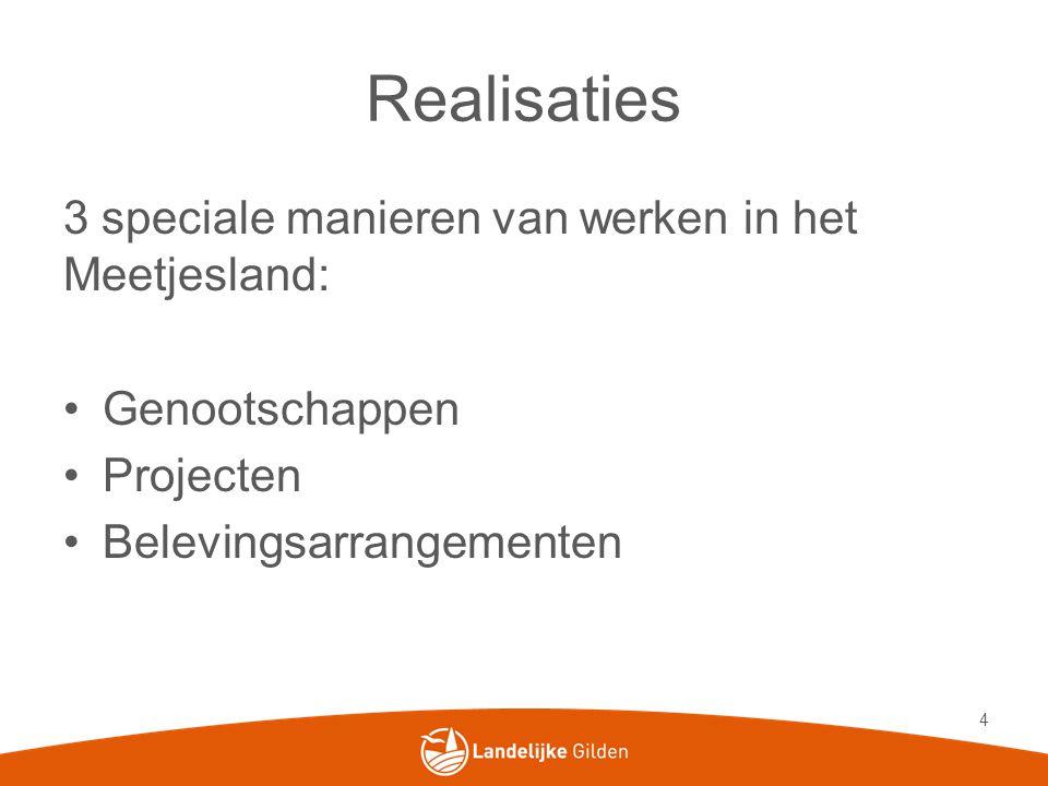 Realisaties 3 speciale manieren van werken in het Meetjesland: •Genootschappen •Projecten •Belevingsarrangementen 4