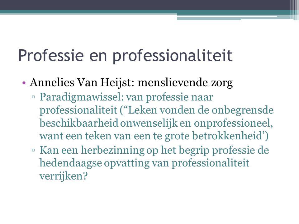 """Professie en professionaliteit •Annelies Van Heijst: menslievende zorg ▫Paradigmawissel: van professie naar professionaliteit (""""Leken vonden de onbegr"""