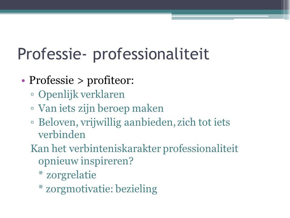 Professie- professionaliteit •Professie > profiteor: ▫Openlijk verklaren ▫Van iets zijn beroep maken ▫Beloven, vrijwillig aanbieden, zich tot iets ver