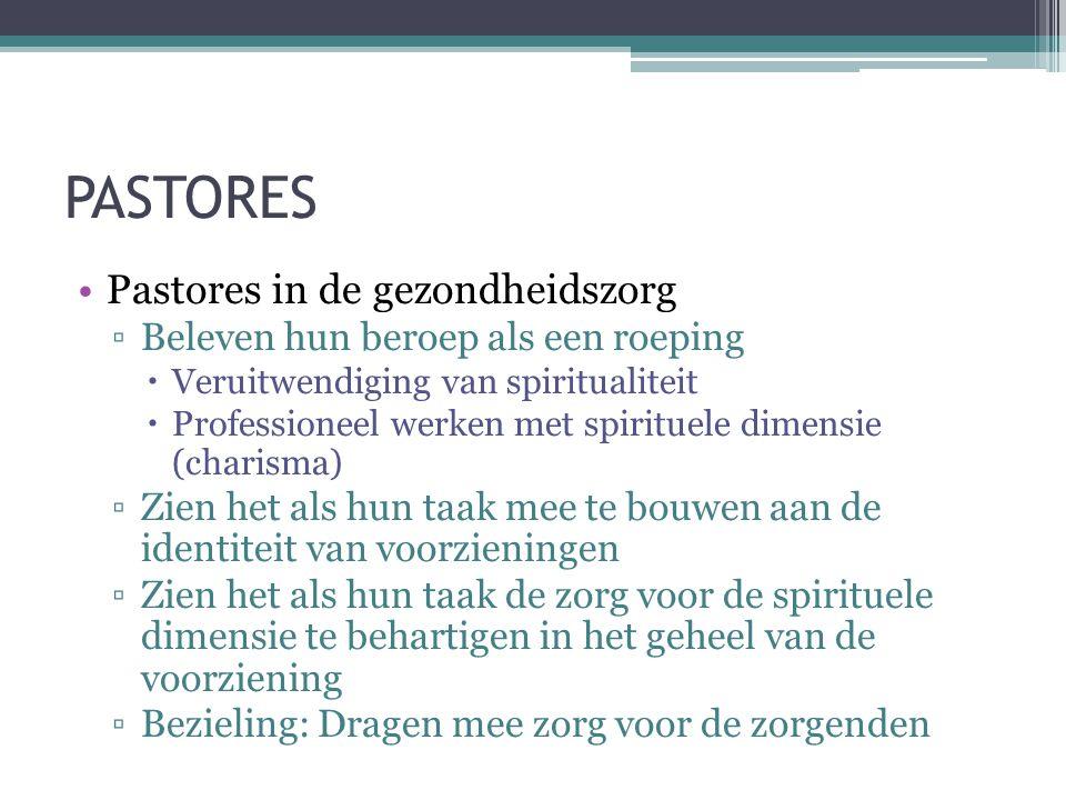 PASTORES •Pastores in de gezondheidszorg ▫Beleven hun beroep als een roeping  Veruitwendiging van spiritualiteit  Professioneel werken met spirituel