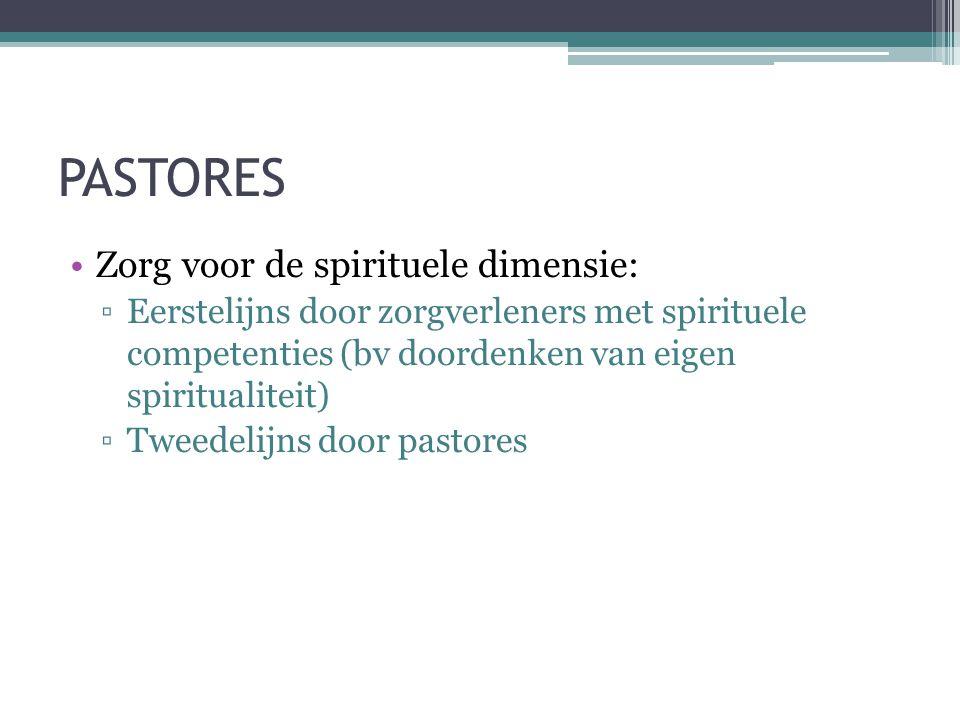 PASTORES •Zorg voor de spirituele dimensie: ▫Eerstelijns door zorgverleners met spirituele competenties (bv doordenken van eigen spiritualiteit) ▫Twee