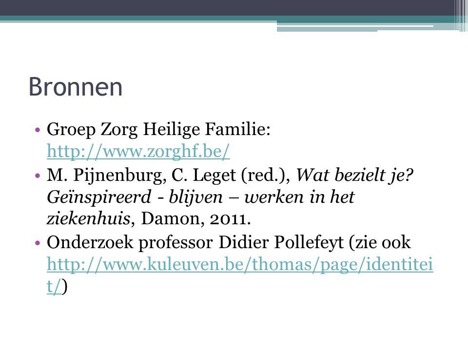 Bronnen •Groep Zorg Heilige Familie: http://www.zorghf.be/ http://www.zorghf.be/ •M. Pijnenburg, C. Leget (red.), Wat bezielt je? Geïnspireerd - blijv
