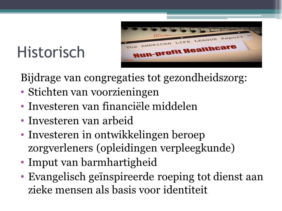 Historisch Bijdrage van congregaties tot gezondheidszorg: • Stichten van voorzieningen • Investeren van financiële middelen • Investeren van arbeid •