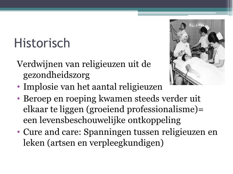 Historisch Verdwijnen van religieuzen uit de gezondheidszorg • Implosie van het aantal religieuzen • Beroep en roeping kwamen steeds verder uit elkaar