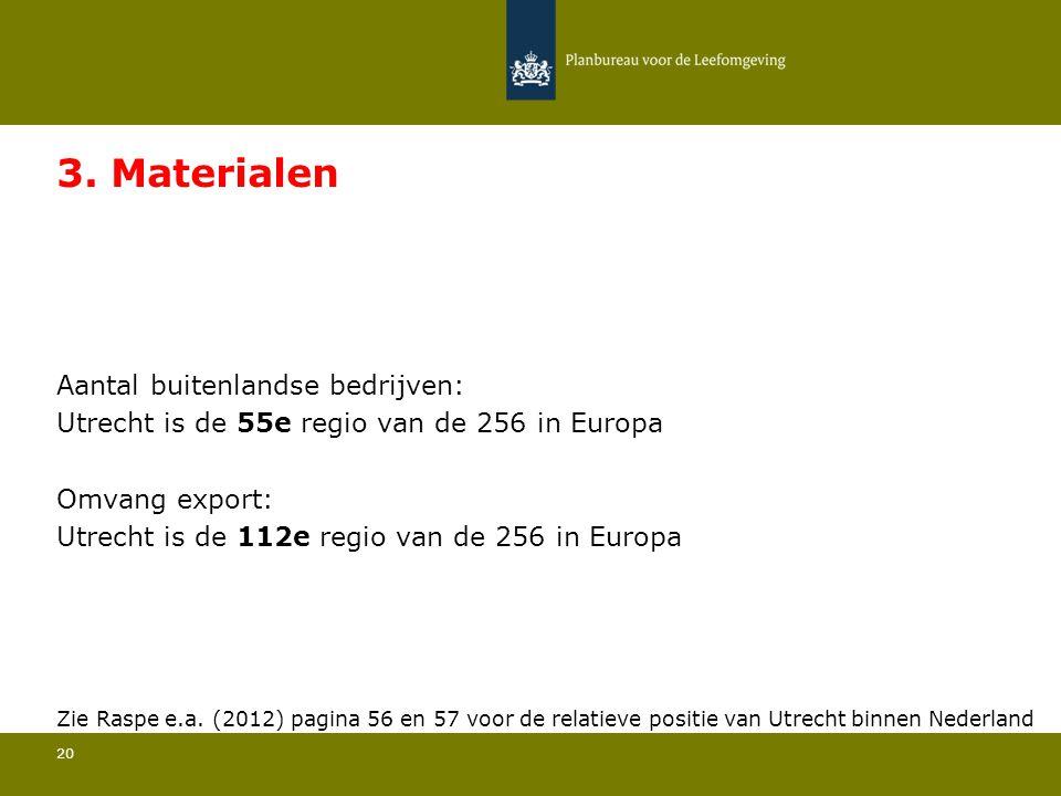 Aantal buitenlandse bedrijven: Utrecht is de 55e regio van de 256 in Europa 20 3. Materialen Omvang export: Utrecht is de 112e regio van de 256 in Eur