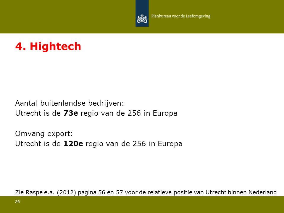 Aantal buitenlandse bedrijven: Utrecht is de 73e regio van de 256 in Europa 26 4. Hightech Omvang export: Utrecht is de 120e regio van de 256 in Europ