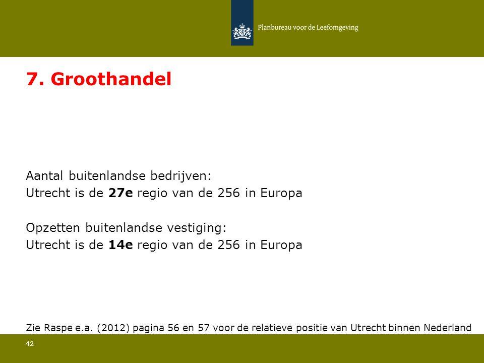 Aantal buitenlandse bedrijven: Utrecht is de 27e regio van de 256 in Europa 42 7. Groothandel Opzetten buitenlandse vestiging: Utrecht is de 14e regio