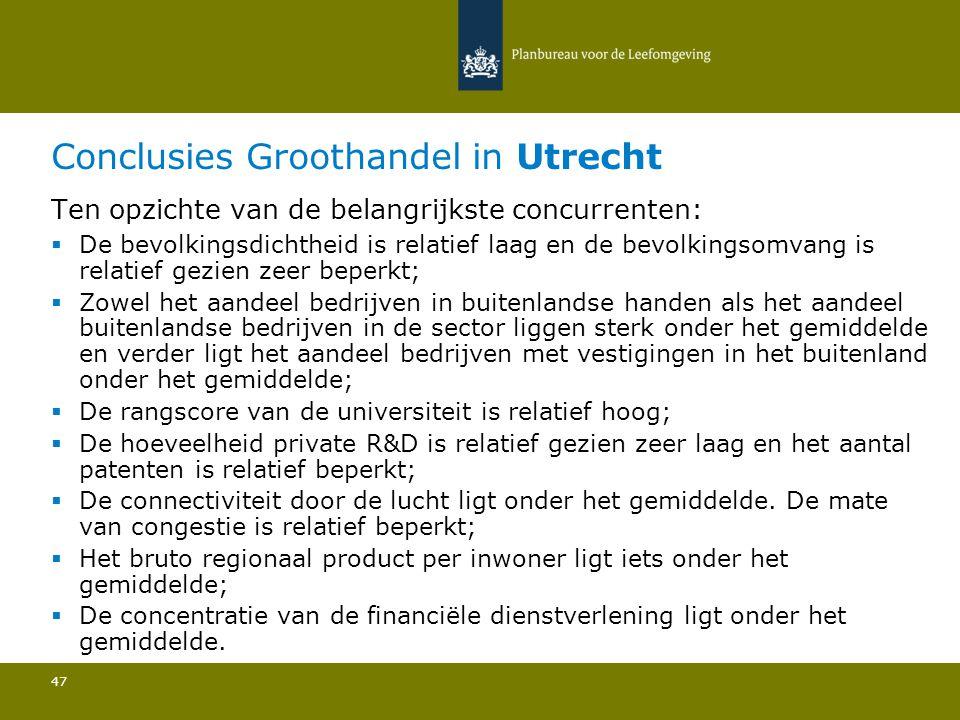 Conclusies Groothandel in Utrecht 47 Ten opzichte van de belangrijkste concurrenten:  De bevolkingsdichtheid is relatief laag en de bevolkingsomvang