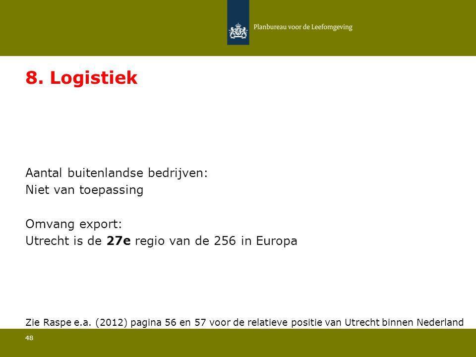 Aantal buitenlandse bedrijven: Niet van toepassing 48 8. Logistiek Omvang export: Utrecht is de 27e regio van de 256 in Europa Zie Raspe e.a. (2012) p