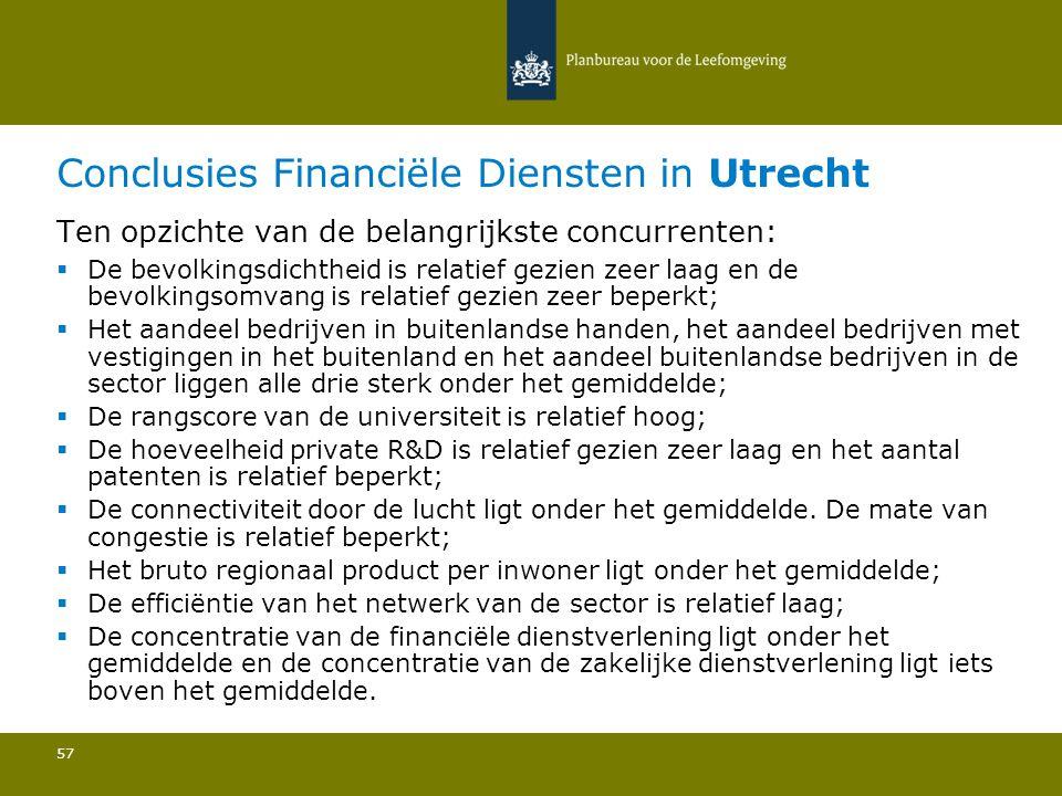 Conclusies Financiële Diensten in Utrecht 57 Ten opzichte van de belangrijkste concurrenten:  De bevolkingsdichtheid is relatief gezien zeer laag en
