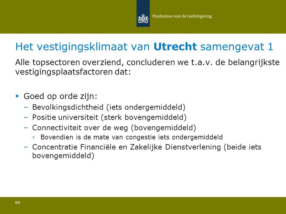 Het vestigingsklimaat van Utrecht samengevat 1 64 Alle topsectoren overziend, concluderen we t.a.v. de belangrijkste vestigingsplaatsfactoren dat:  G