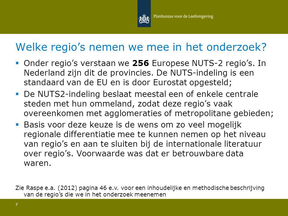 Welke regio's nemen we mee in het onderzoek? 7  Onder regio's verstaan we 256 Europese NUTS-2 regio's. In Nederland zijn dit de provincies. De NUTS-i