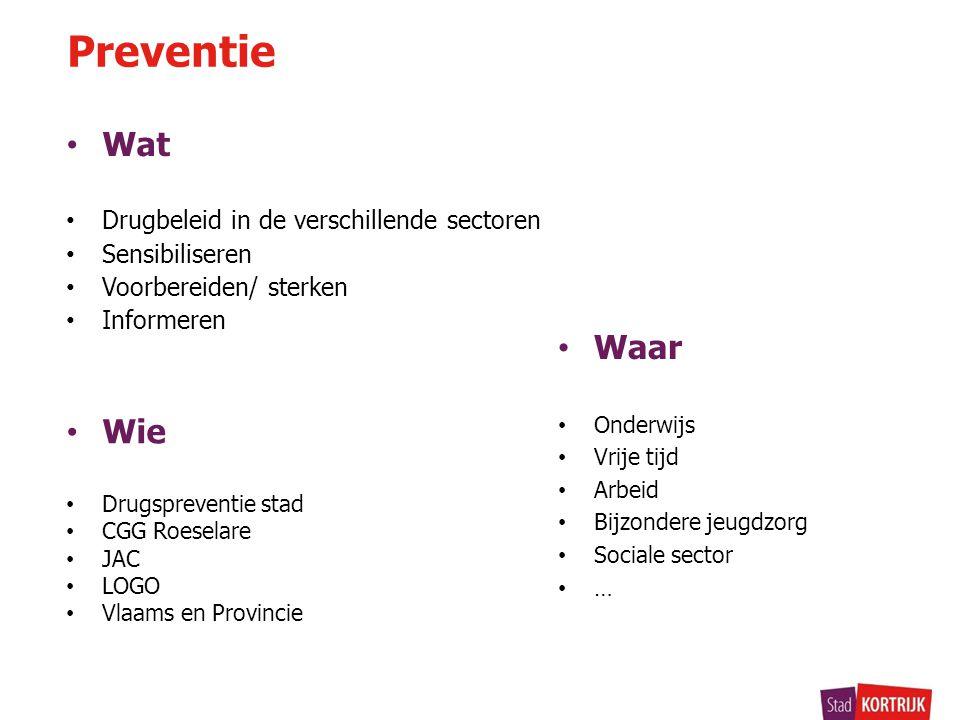 • Wat Preventie • Drugbeleid in de verschillende sectoren • Sensibiliseren • Voorbereiden/ sterken • Informeren • Wie • Drugspreventie stad • CGG Roes