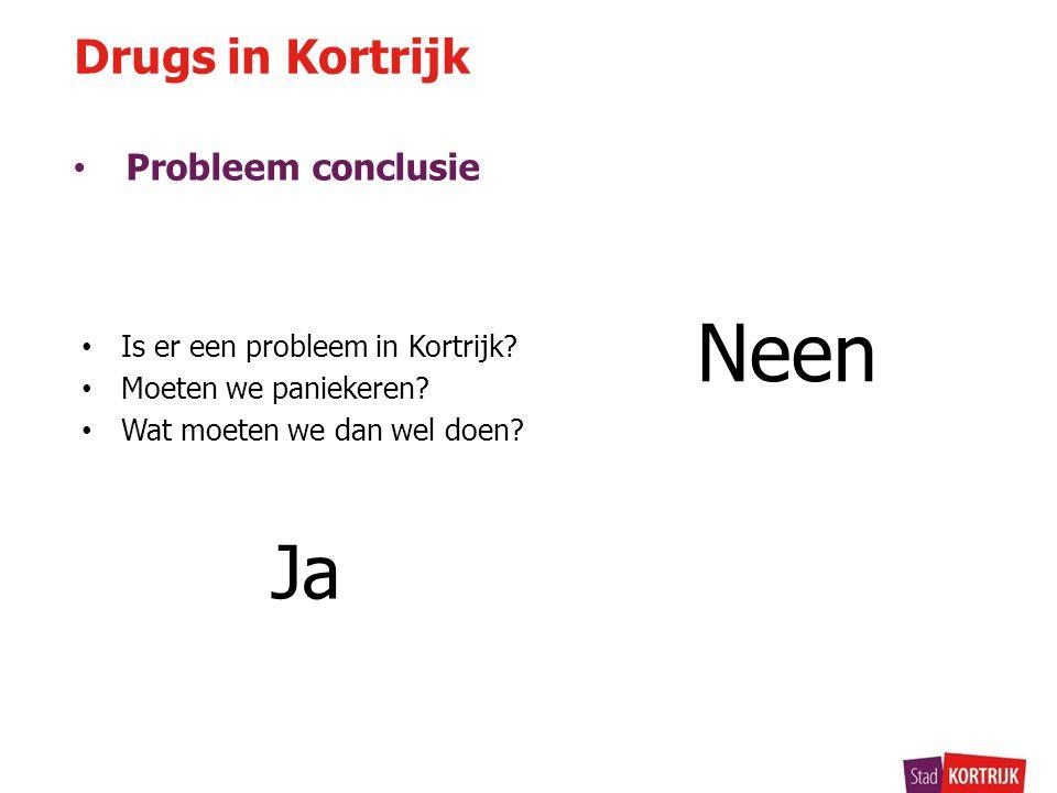 • Probleem conclusie Neen Drugs in Kortrijk • Is er een probleem in Kortrijk? • Moeten we paniekeren? • Wat moeten we dan wel doen? Ja