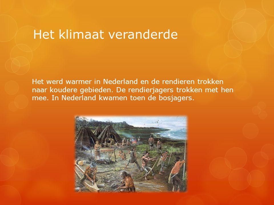 Het klimaat veranderde Het werd warmer in Nederland en de rendieren trokken naar koudere gebieden. De rendierjagers trokken met hen mee. In Nederland