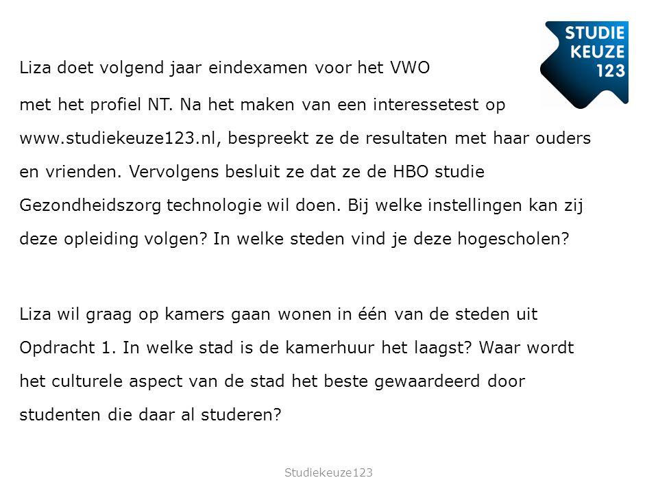 Liza doet volgend jaar eindexamen voor het VWO met het profiel NT.