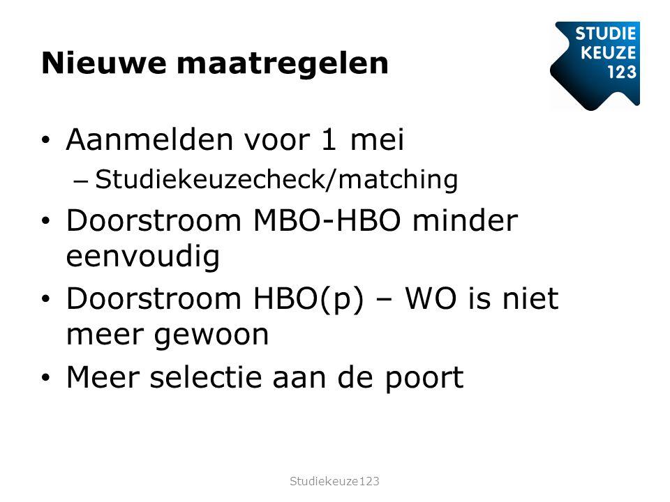 Nieuwe maatregelen • Aanmelden voor 1 mei – Studiekeuzecheck/matching • Doorstroom MBO-HBO minder eenvoudig • Doorstroom HBO(p) – WO is niet meer gewoon • Meer selectie aan de poort Studiekeuze123