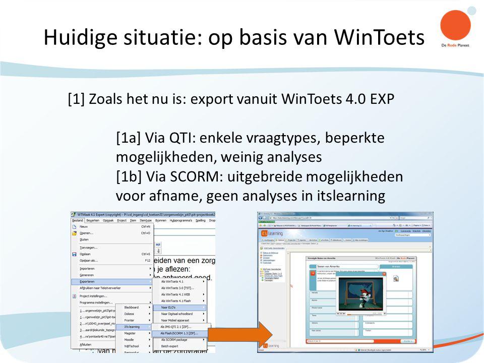 Huidige situatie: op basis van WinToets [1] Zoals het nu is: export vanuit WinToets 4.0 EXP [1a] Via QTI: enkele vraagtypes, beperkte mogelijkheden, weinig analyses [1b] Via SCORM: uitgebreide mogelijkheden voor afname, geen analyses in itslearning