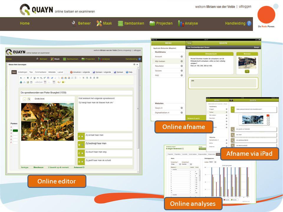Quayn Online editor Online afname Afname via iPad Online analyses