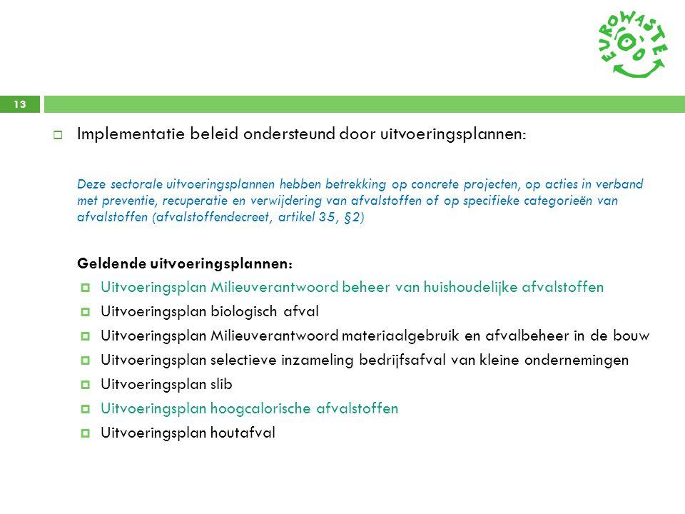 13  Implementatie beleid ondersteund door uitvoeringsplannen: Deze sectorale uitvoeringsplannen hebben betrekking op concrete projecten, op acties in