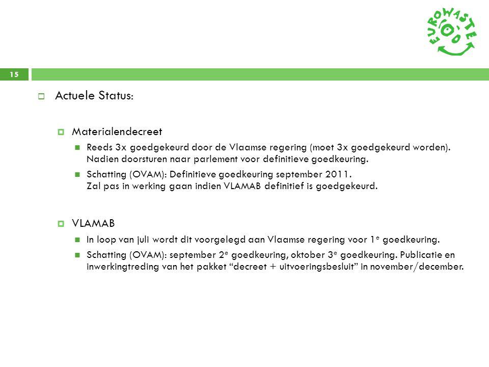 15  Actuele Status :  Materialendecreet  Reeds 3x goedgekeurd door de Vlaamse regering (moet 3x goedgekeurd worden). Nadien doorsturen naar parleme