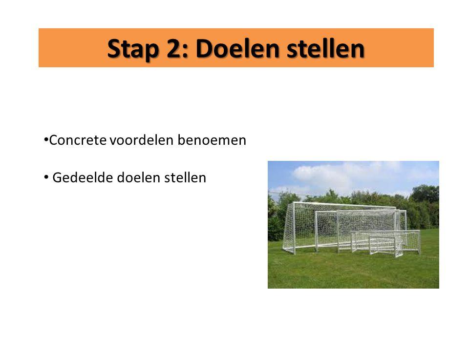 • Concrete voordelen benoemen • Gedeelde doelen stellen Stap 2: Doelen stellen