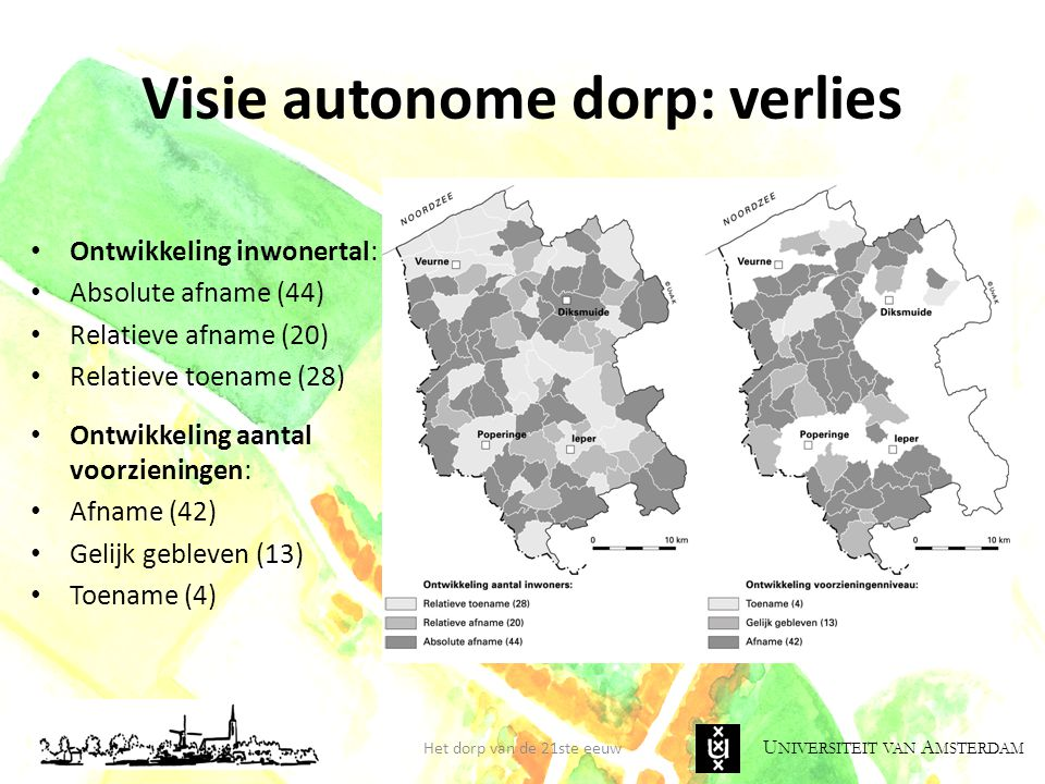 U NIVERSITEIT VAN A MSTERDAM Visie autonome dorp: verlies Het dorp van de 21ste eeuw • Ontwikkeling inwonertal: • Absolute afname (44) • Relatieve afn