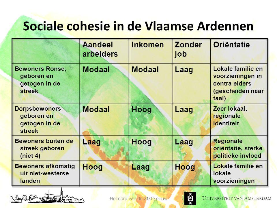 U NIVERSITEIT VAN A MSTERDAM Sociale cohesie in de Vlaamse Ardennen Het dorp van de 21ste eeuw