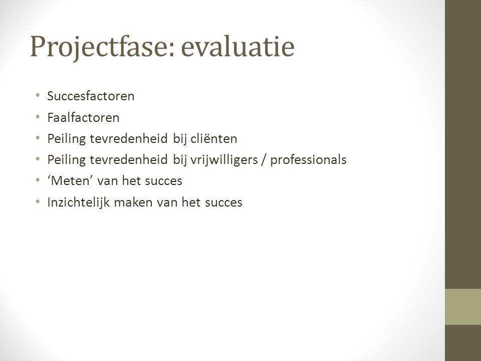 Projectfase: evaluatie • Succesfactoren • Faalfactoren • Peiling tevredenheid bij cliënten • Peiling tevredenheid bij vrijwilligers / professionals • 'Meten' van het succes • Inzichtelijk maken van het succes
