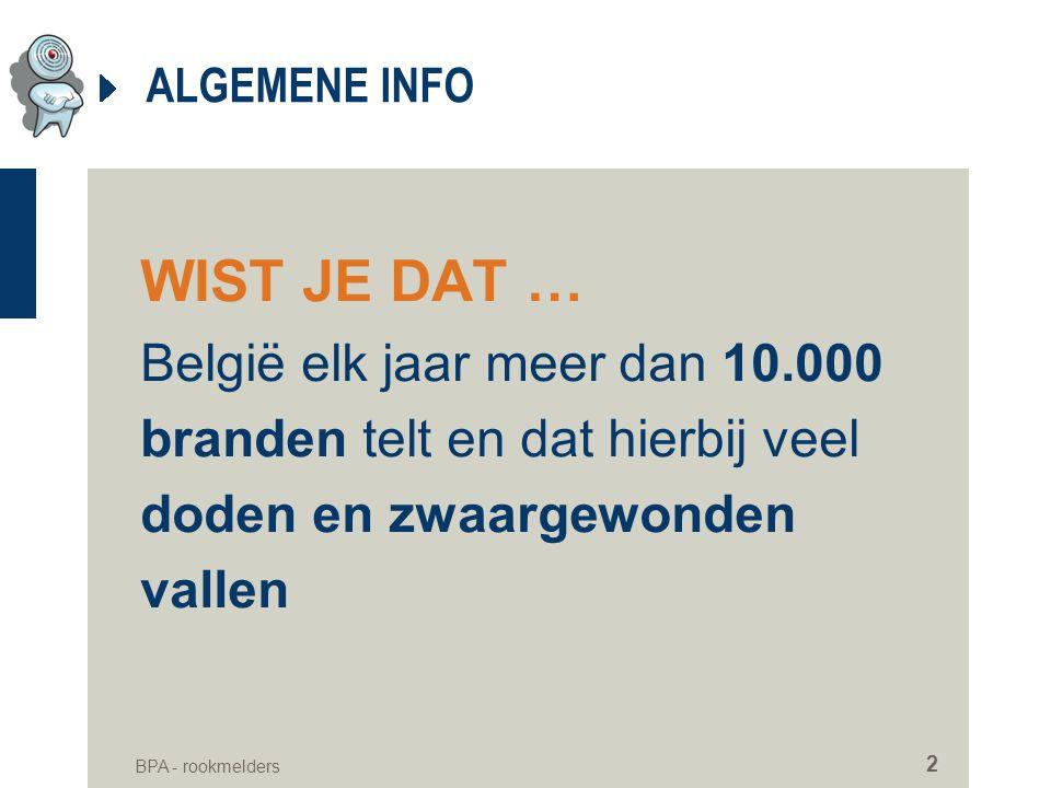 BPA - rookmelders 2 ALGEMENE INFO WIST JE DAT … België elk jaar meer dan 10.000 branden telt en dat hierbij veel doden en zwaargewonden vallen