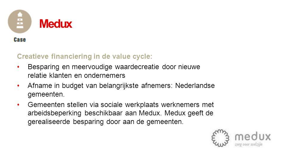 Creatieve financiering in de value cycle: •Besparing en meervoudige waardecreatie door nieuwe relatie klanten en ondernemers •Afname in budget van bel