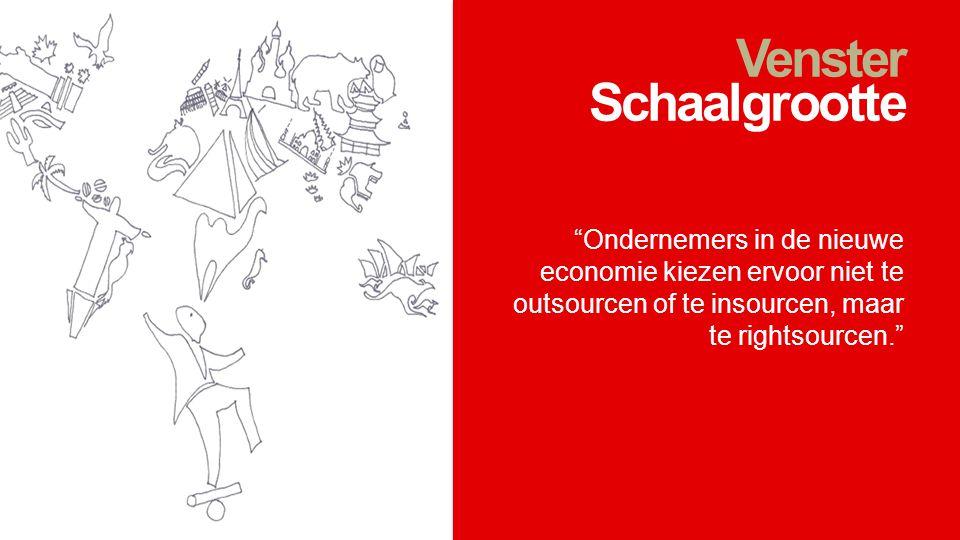 """Venster Schaalgrootte """"Ondernemers in de nieuwe economie kiezen ervoor niet te outsourcen of te insourcen, maar te rightsourcen."""""""