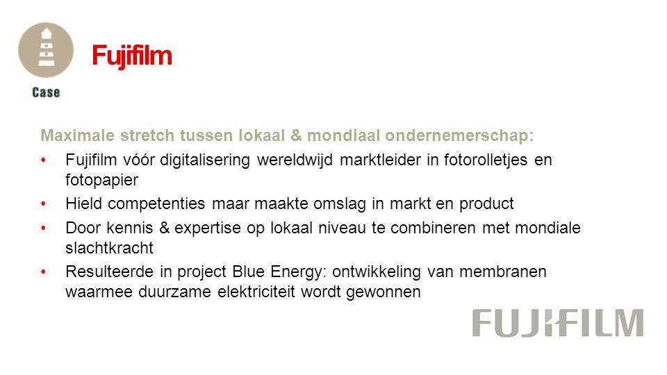 Maximale stretch tussen lokaal & mondiaal ondernemerschap: •Fujifilm vóór digitalisering wereldwijd marktleider in fotorolletjes en fotopapier •Hield