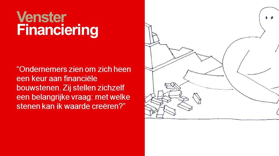 """Venster Financiering """"Ondernemers zien om zich heen een keur aan financiële bouwstenen. Zij stellen zichzelf een belangrijke vraag: met welke stenen k"""