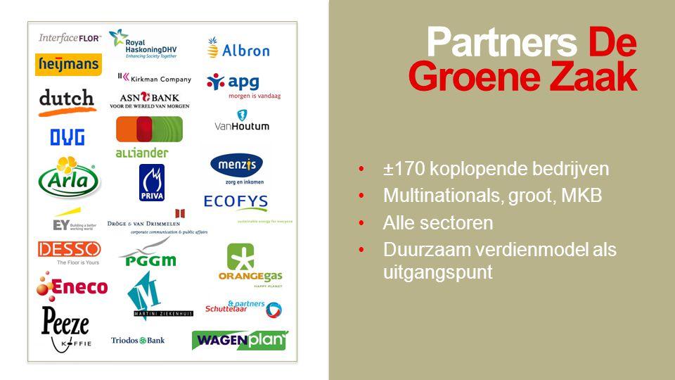 Partners De Groene Zaak •±170 koplopende bedrijven •Multinationals, groot, MKB •Alle sectoren •Duurzaam verdienmodel als uitgangspunt
