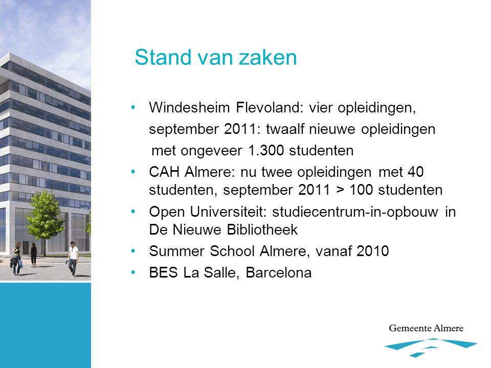 Stand van zaken •Windesheim Flevoland: vier opleidingen, september 2011: twaalf nieuwe opleidingen met ongeveer 1.300 studenten •CAH Almere: nu twee o