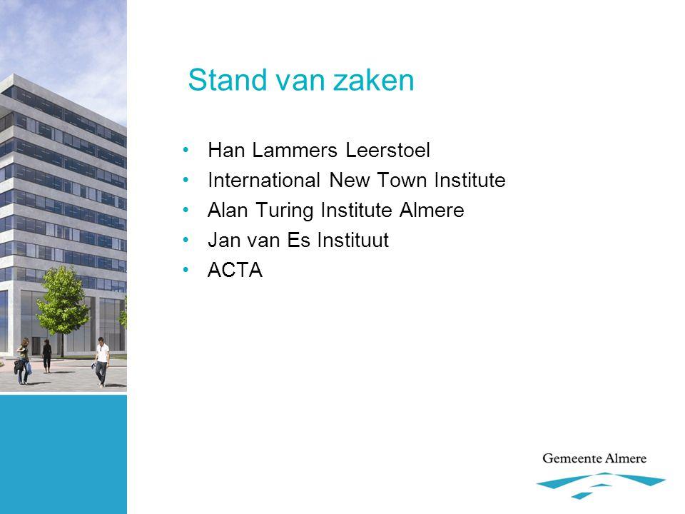 Stand van zaken •Han Lammers Leerstoel •International New Town Institute •Alan Turing Institute Almere •Jan van Es Instituut •ACTA