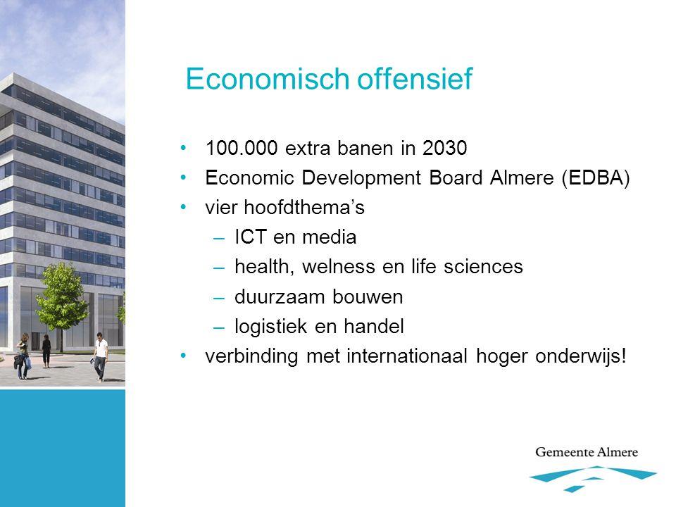 Economisch offensief •100.000 extra banen in 2030 •Economic Development Board Almere (EDBA) •vier hoofdthema's –ICT en media –health, welness en life